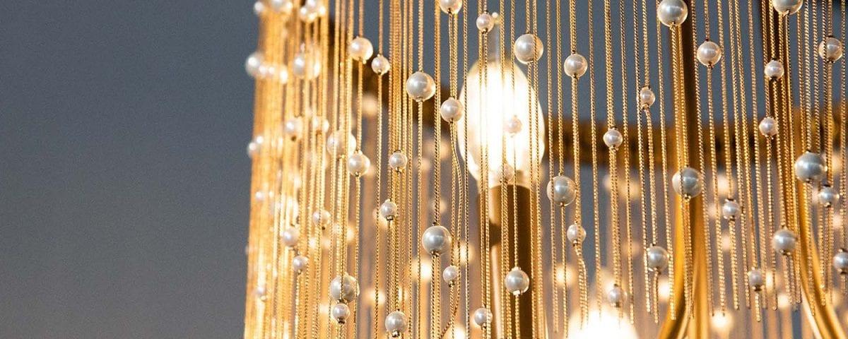 Beautiful beaded decorative lighting example.