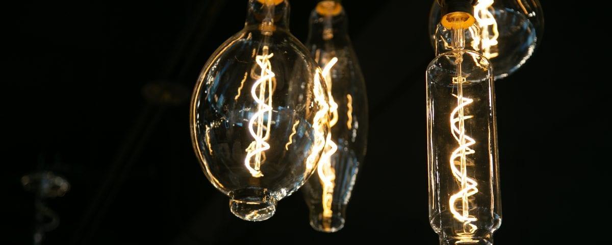 LED light bulbs up close